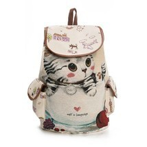 Lovely Cat Printed Canvas Backpack Women Drawstring Teenager Large Capac... - $17.81