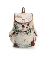 Lovely Cat Printed Canvas Backpack Women Drawstring Teenager Large Capac... - $343,34 MXN