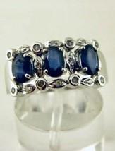 14k Weiss Gold Natürlich Saphir und Diamanten Ring Größe 8 - $350.58