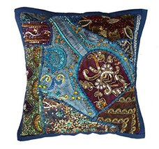 Rastogi Handicrafts Decorative Throw Pillow Cases, Embroidered Cotton Cu... - $14.84