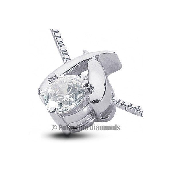 Primary image for 0.58 CT F-SI1 VG Round AGI Natural Diamond 18kw Gold Prong Classic Pendant 8.7mm