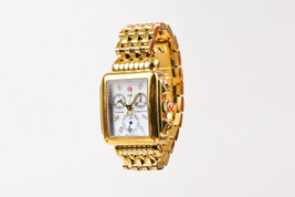 "Michele Gold Plated Stainless Steel Diamond ""Signature Deco"" Chronograph Watch - $960.00"