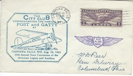 City Club Arrivial of Wiley Post and Arnold Gatty Chippewa Falls WI Aug ... - $11.88