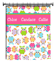 Personalized CUSTOM OWL Shower Curtain - Personalized - Multi color Polk... - $78.00