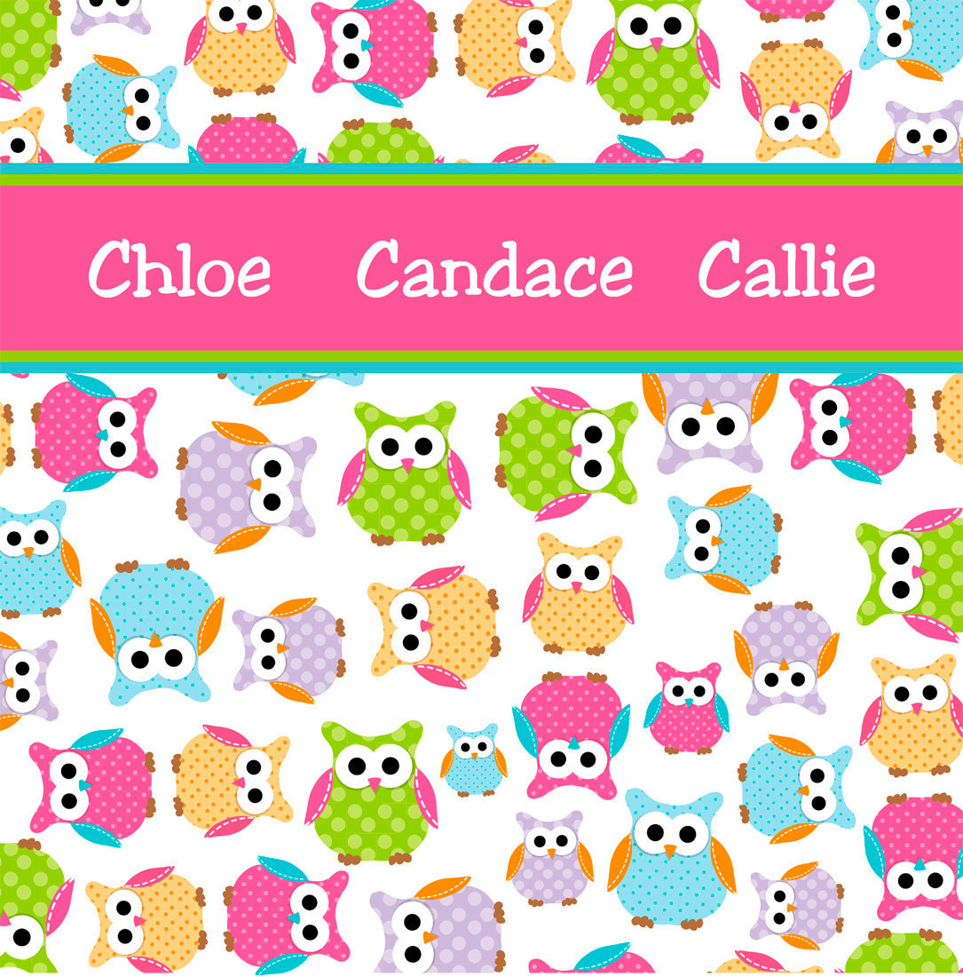 Personalized CUSTOM OWL Shower Curtain - Personalized - Multi color Polka Dot Ow