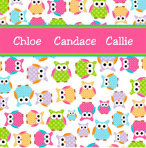 Personalized CUSTOM OWL Shower Curtain - Personalized - Multi color Polka Dot Ow image 2