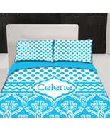 Personalized Custom Blue Delight Dots & Damask Duvet with your Name or I... - $264.00