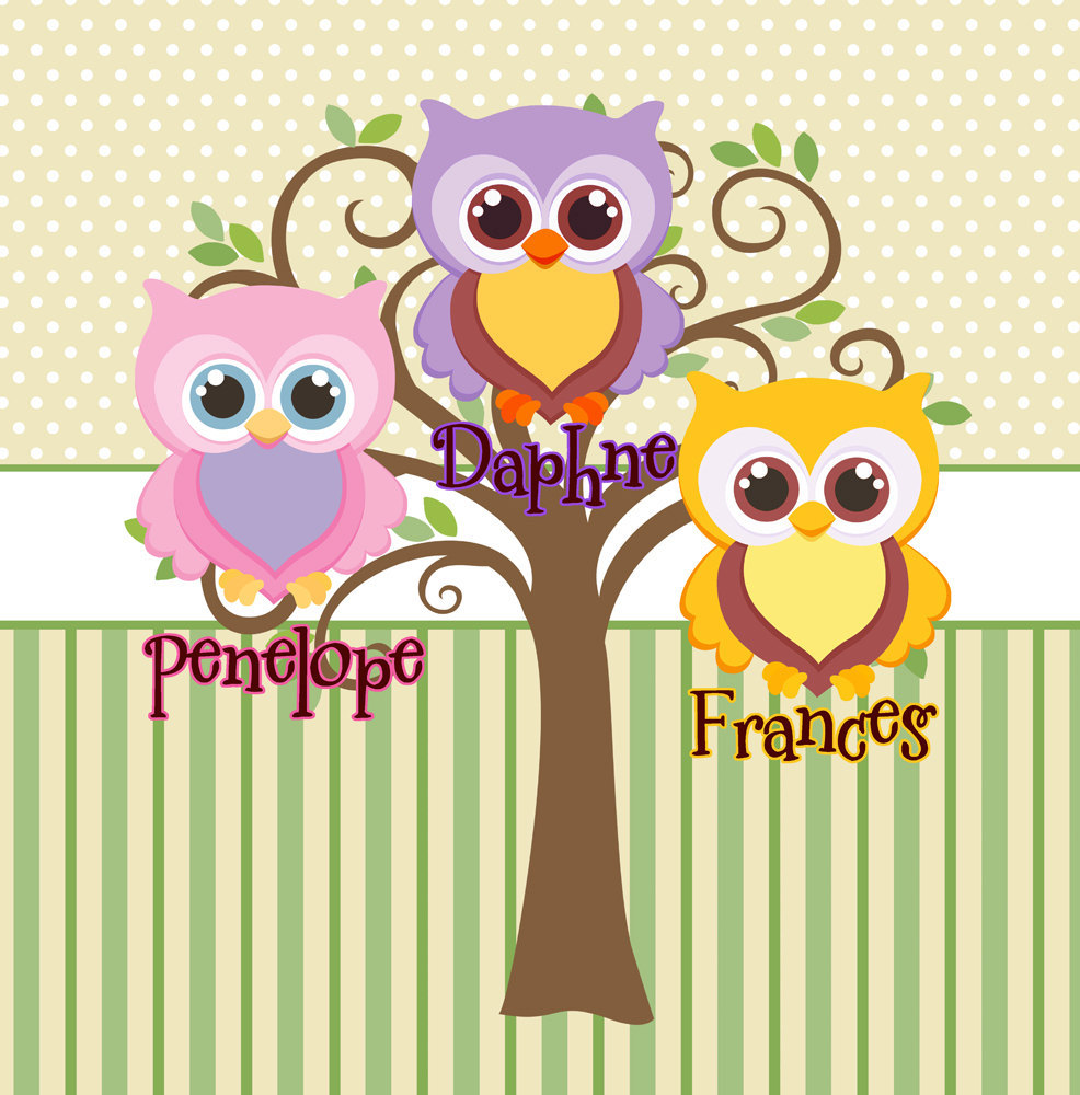 Mod Tree Owl Shower Curtain - Shared Bathrooms - In YOUR Colors