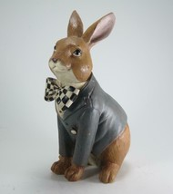 """10"""" Sitting Bunny Figurine with Harlequin Bow Tie & Watch Tabletop Easter Decor - $34.60"""