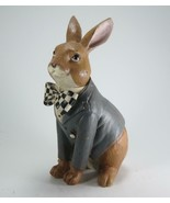 """10"""" Sitting Bunny Figurine with Harlequin Bow Tie & Watch Tabletop Easte... - $34.60"""
