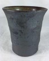 Handmade Studio Pottery Art Charcoal Blue Matte... - $22.71