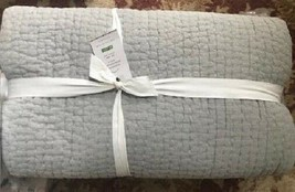 Pottery Barn Stonewashed Pick Stitch Quilt Light Gray Queen No Shams - $199.00