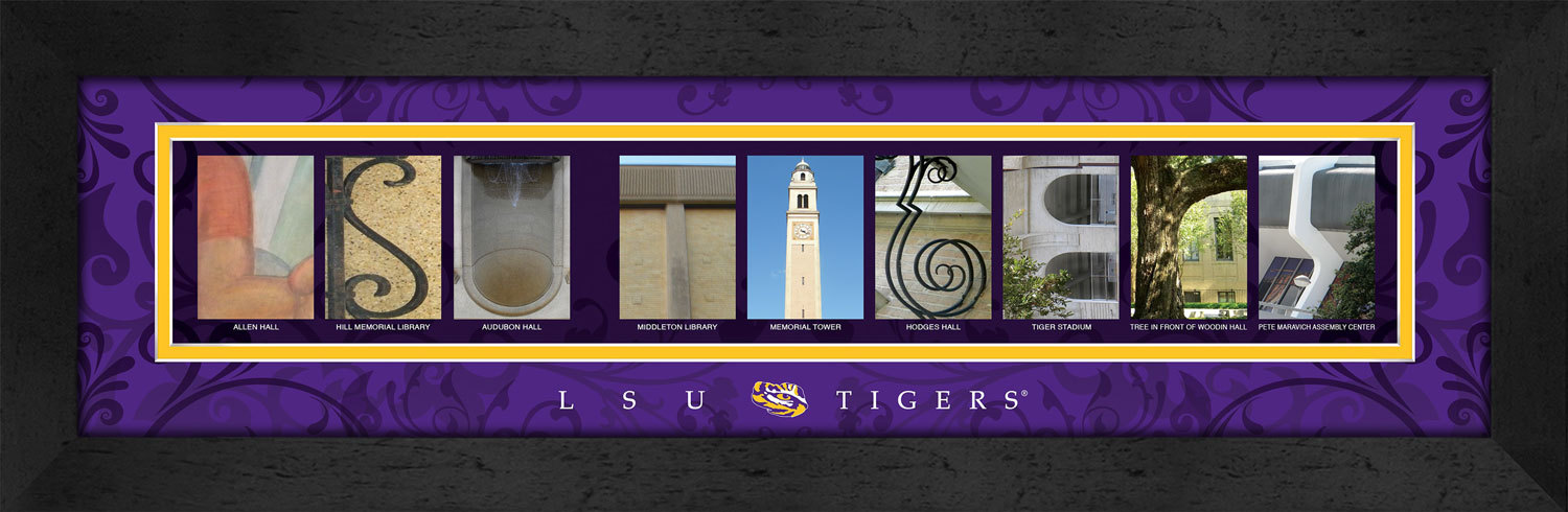 Primary image for LSU Tigers Officially Licensed Framed Campus Letter Art