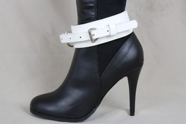 New Women Western Boot Bracelet Silver Metal Buckle Chain White Strap Shoe Charm - $19.59