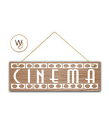 "CINEMA Sign, 5.5"" x 17"" Wood Sign, Rustic Movie Room Sign, Theater Room ... - $20.25"