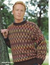 Mens Round Necked Sweater Denys Brunton Pattern No FL 117 for Machine Kn... - $6.92