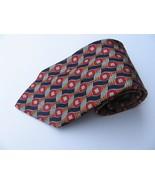 Zegna Ermenegildo Pure Silk Tie Multicolor Red Black Italy Disegno Esclu... - $72.55