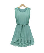 Alice In Wonderland Whimsical Petals Green Chiffon Dress. Summer Dress - $89.90