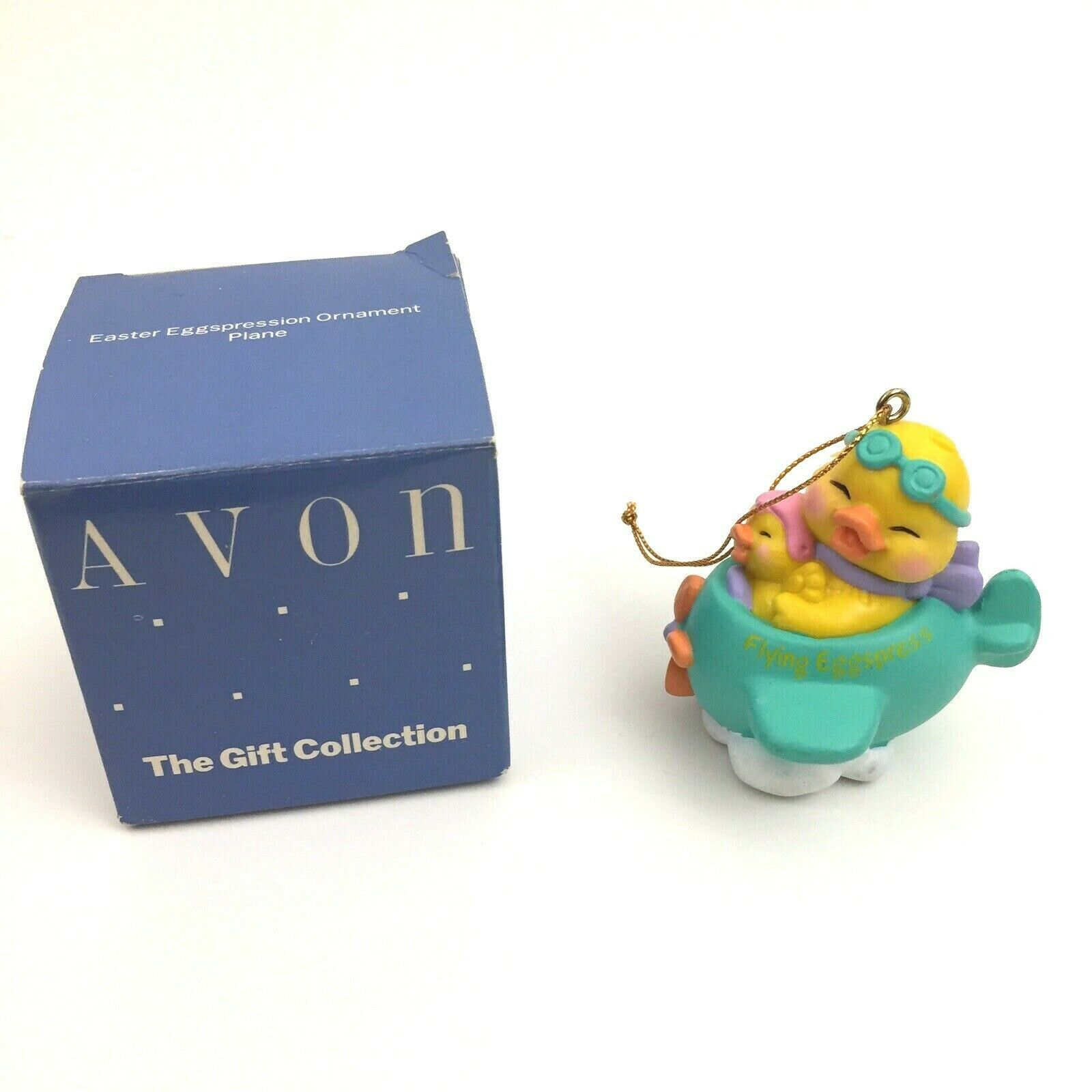 AVON Vintage Easter Flying Eggspression Ornament Chicks in Plane in Original Box