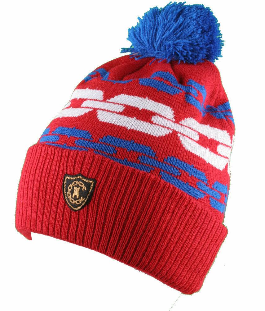Crooks & Castles Royal Blue Orange Mens Chainlink Pom Beanie Winter Ski Hat