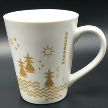 STARBUCKS COFFEE MUG CUP 2013 gold white forest trees sun advertising ho... - $24.75
