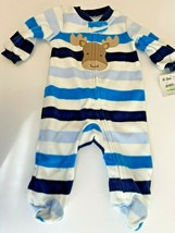 Carters Child Of Mine Boys Footed Sleeper Striped Moose Fleece Size 0-3 M - $6.79