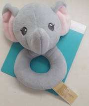 """Dan Dee Blue Elephant Plush Baby Lovey Rattle 6"""" x 3.5"""" New with Tags - $8.86"""