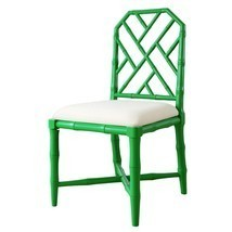 GREEN LACQUER SIDE CHAIR, Faux Bamboo, Linen Seat Cushion, HOLLYWOOD REG... - $625.00
