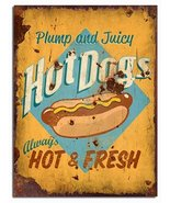 """Hot Dogs Dog Hot And Fresh Vintage 12"""" X 16"""" - Wall Wood Wooden Sign Poster - $24.14"""
