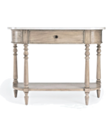 French Farmhouse Restoration Mahogany Wood & Marble Demi Lune Console Table - $573.51