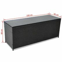 vidaXL Outdoor Storage Box Poly Rattan Black Entryway Chest Bench Organizer image 5