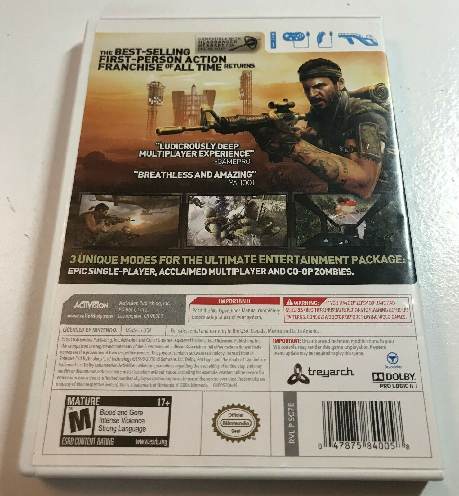 Call of Duty: Black Ops (Nintendo Wii, 2010) Game Complete image 3
