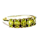 RARE GREEN DEMANTOID GARNET OVAL 5-STONE BAND RING, SILVER, SIZE 7, 1.20(TCW) - $115.00