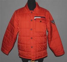 Tommy Hilfiger Orange Squares Snap Front Puffer Lined Flag Logo Jacket Mns M EXC - $44.99