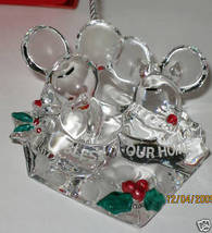 Nib Lenox Bless This Our Home Mouse Christmas Ornament Clear Acrylic Original Bo - $19.30