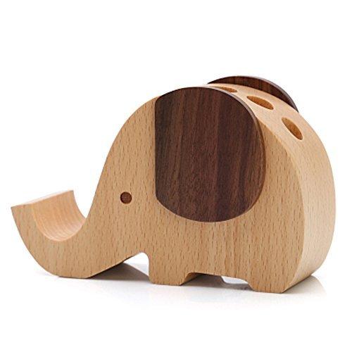 Olpchee Multifunctional Wooden Desk Pen Pencil Holder Creative Cute Elephant Des