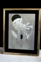 Vintage PIERROT Pierette clown Silver Foil Art Picture - $33.66