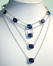 GENUINE NATURAL FINE STERLING BLUE SAPPHIRE NECKLACE 18 - $189.00