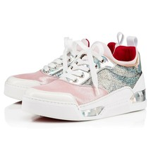 Sz 39 Christian Louboutin Aurelien Donna Pink Sneakers Medium Top Athlet... - $499.00