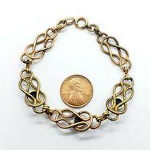 "Carl Art Vintage 12k Gold-Filled Blue Rhinestone Bracelet 7.5"" FREE Shipping image 4"