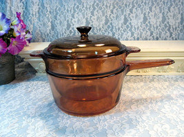Vintage Visions Corning Ware Pyrex Brown Glass Cookware Saucepan Double Boiler - $69.99