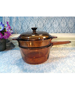 Vintage Visions Corning Ware Pyrex Brown Glass Cookware Saucepan Double ... - $69.99