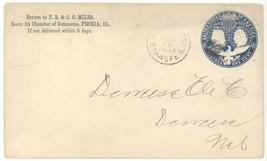 1893 Peoria IL Columbus & Liberty U348 Envelope Cover 1c Columbian Expos... - $5.93