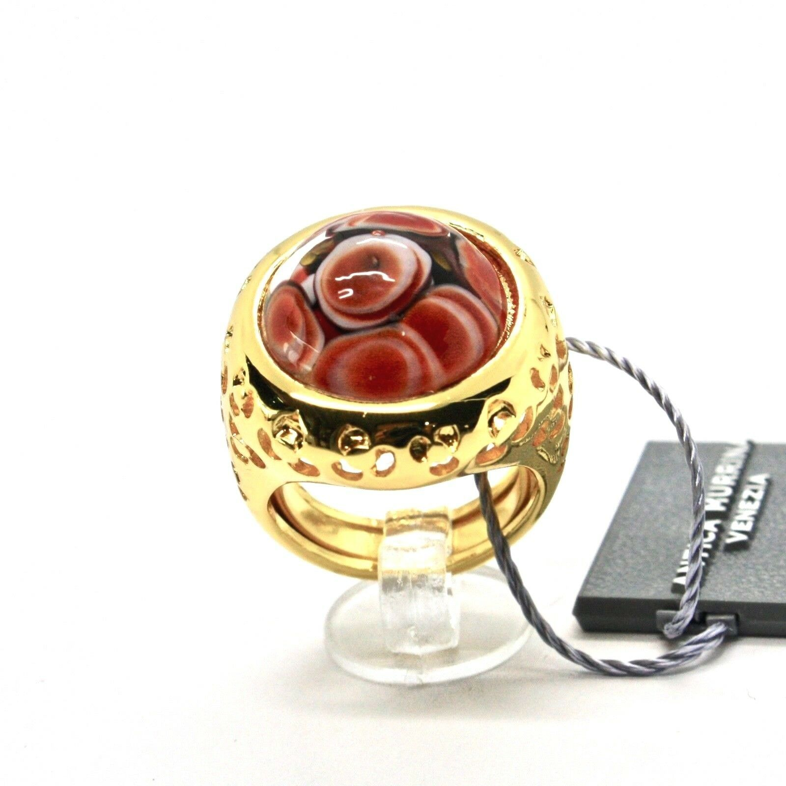RING ANTICA MURRINA VENEZIA WITH DISC WITH MURANO GLASS RED GOLDEN AN205A14