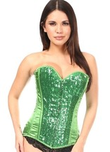 Green Satin and Sequin Corset Top ~ Small to 6X - $99.99