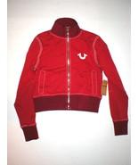 New Womens Designer True Religion Big T Sweat Jacket Terry Red White Zip... - $59.20