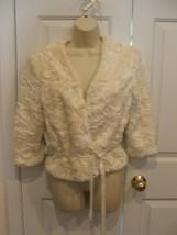 New In Pkg Frederick's Of Hollywood Ivory Faux Fur Dressy Jacket Medium - $43.55
