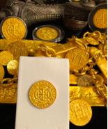 MEXICO 1715 FLEET ROYAL 4 ESCUDOS GOLD PLT PENDANT DOUBLOON COB TREASURE... - $225.00