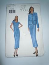 Very Easy Vogue Misses 8-12 Jacket & Dress Pattern #7141 Uncut - $7.99