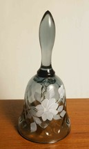 "Fenton Bell Smoke Optic Signed Freda H White Floral 4 1/2"" - $24.95"